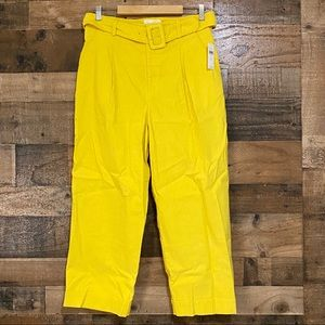 Anthropologie Yellow Pants with Belt and Buckle